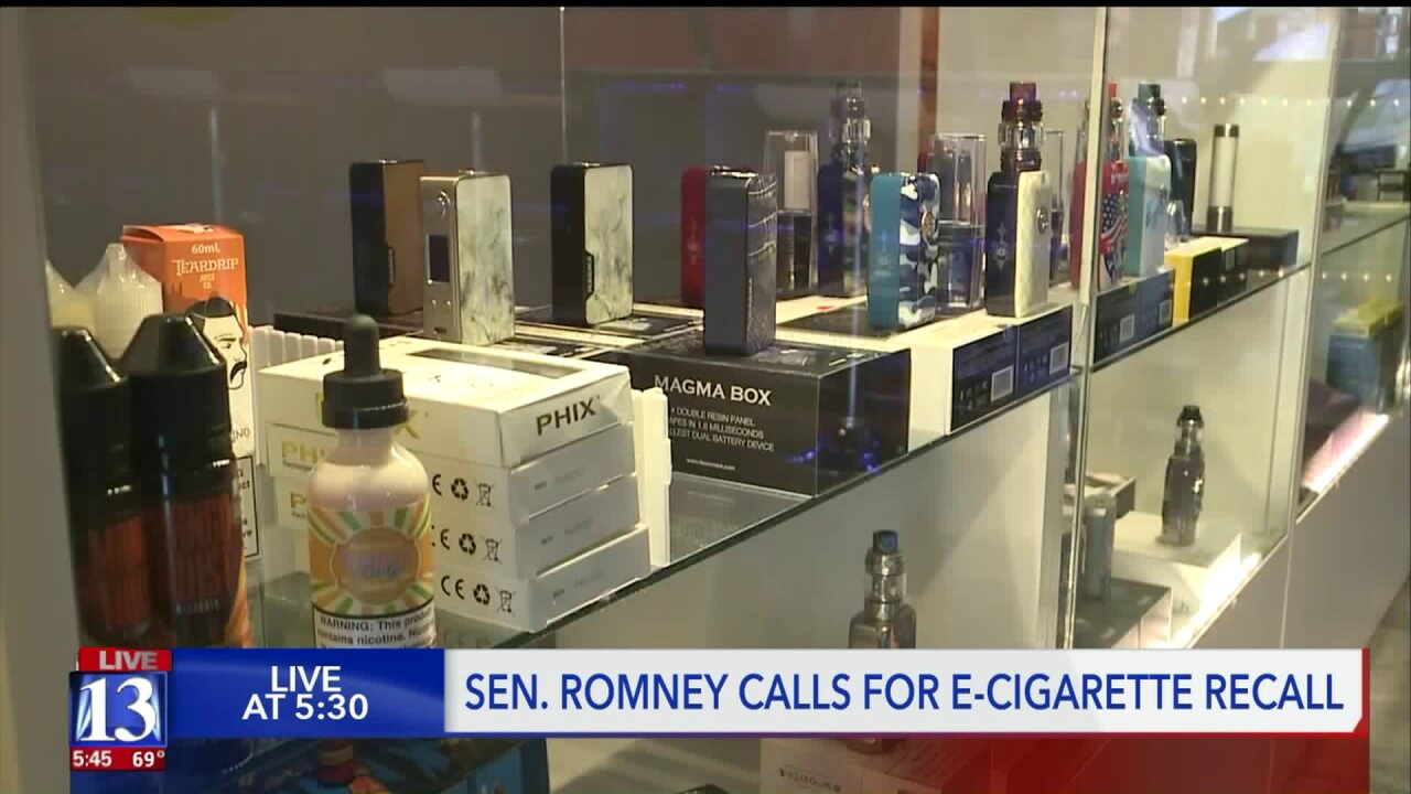 Mitt Romney asks FDA to consider e-cigarette recall amid rise in vaping-related lung diseasecases