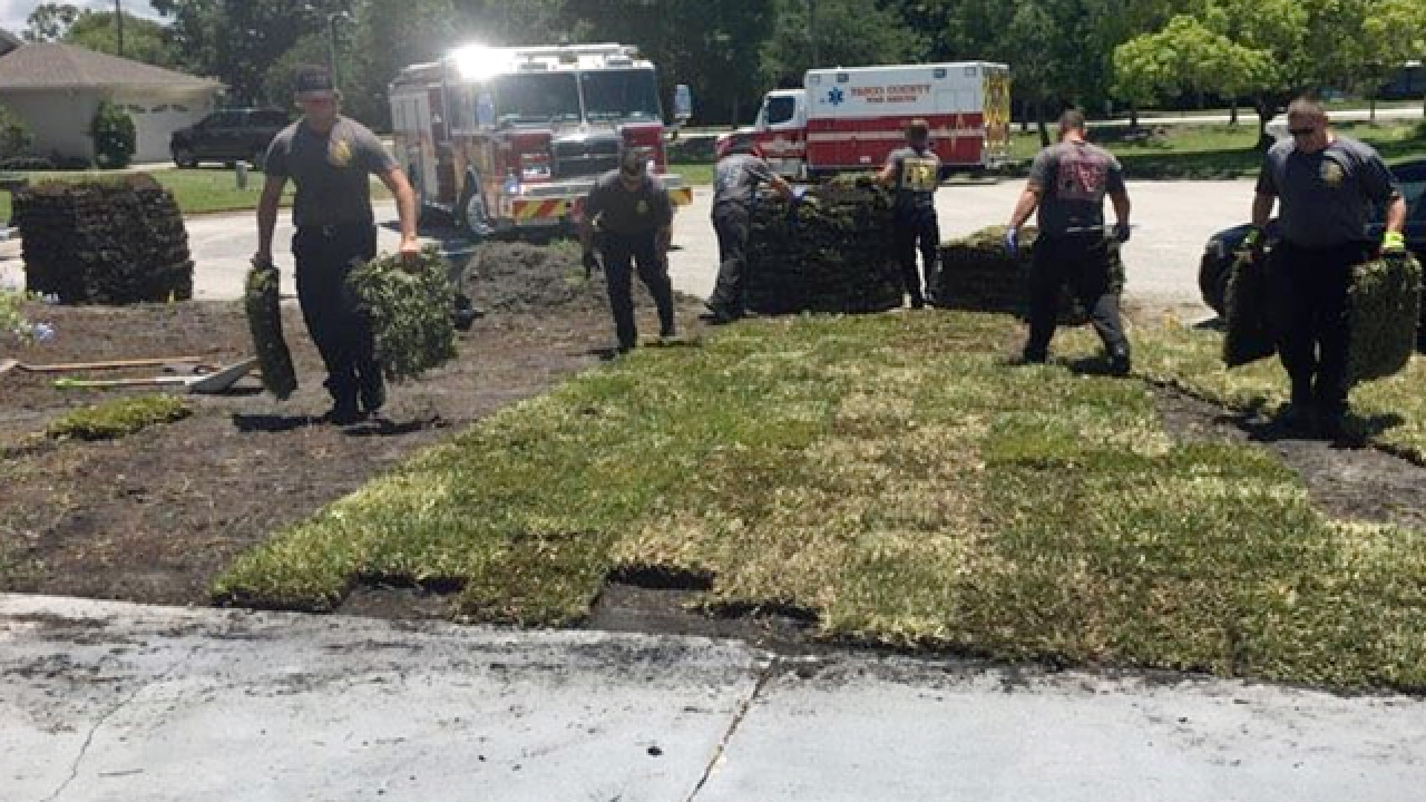 Fire crew takes man to hospital, lays his sod