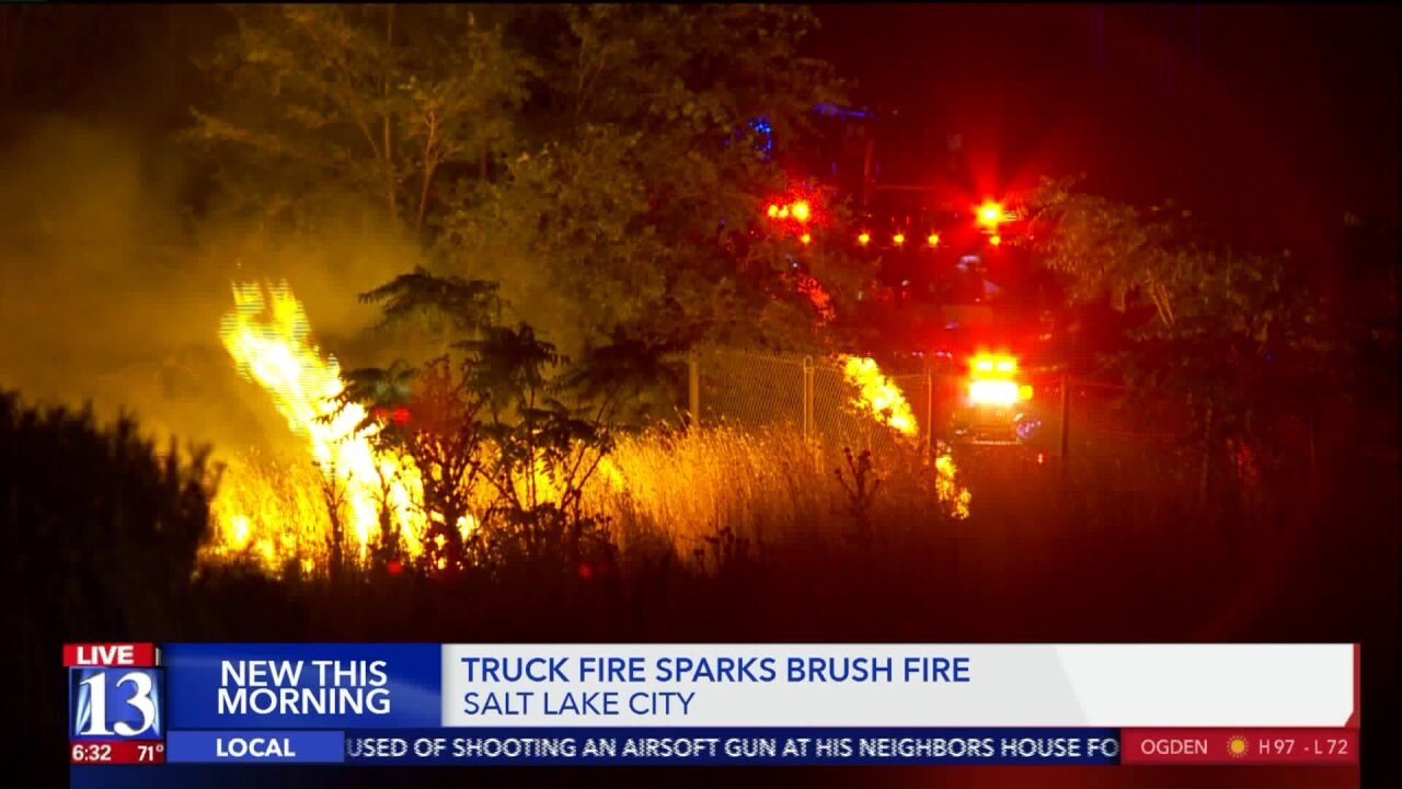 Vehicle fire spreads to nearby brush in Salt LakeCity