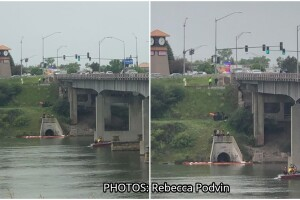 """Crews working to clean up """"film"""" on the Missouri River"""