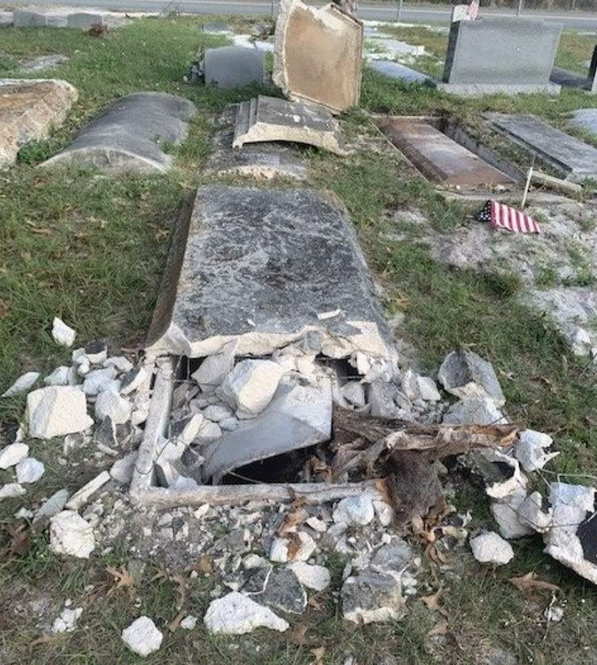 desecrated grave found at Edgewood Cemetery