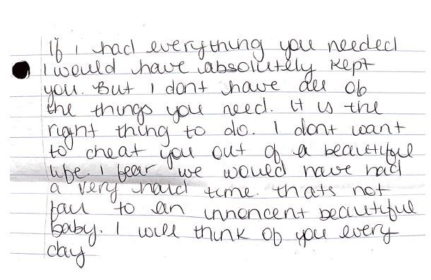 A portion of the actual letter left inside the Safe Haven Baby Box with baby Mila.