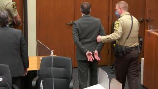 Derek Chauvin handcuffed after conviction on April 20, 2021