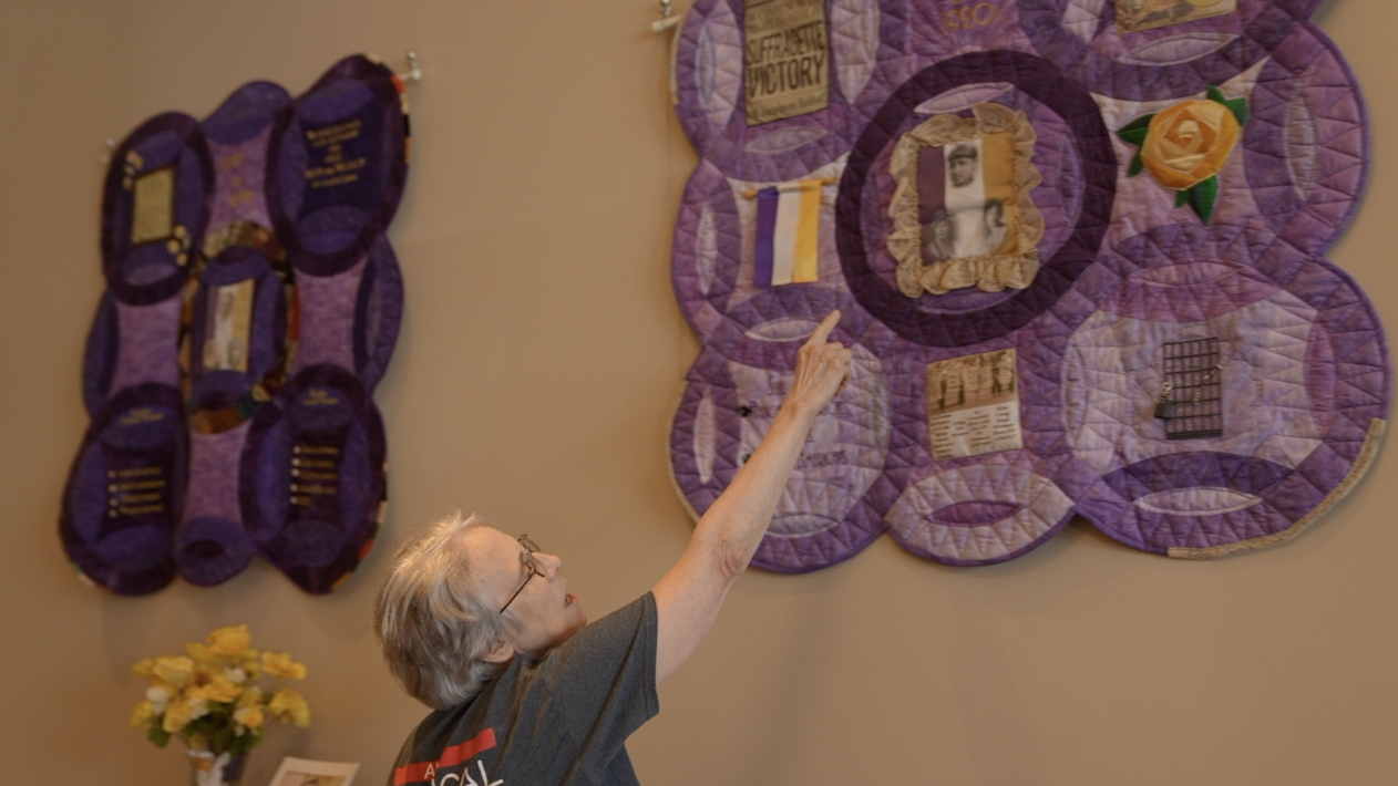 Mary Brown, communications coordinator for Designing Divas, explains the second quilt in the five-part series