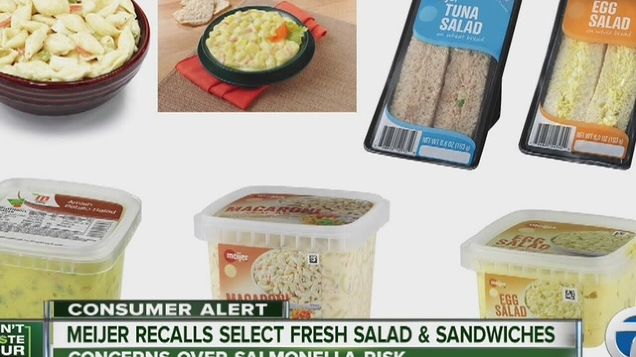 Meijer recall affects fresh salads, sandwiches