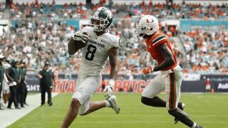 Michigan State receiver Jalen Nailor scores TD vs. Miami Hurricanes in 2021