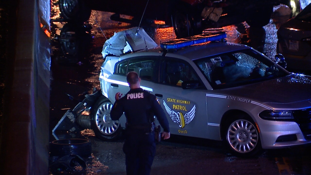 An Ohio State Highway Patrol cruiser was struck on I-480 westbound.