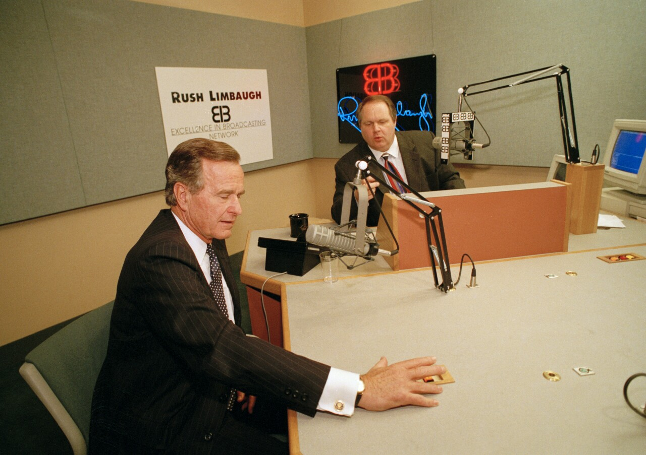 President George Bush on set of Rush Limbaugh's radio show in 1992