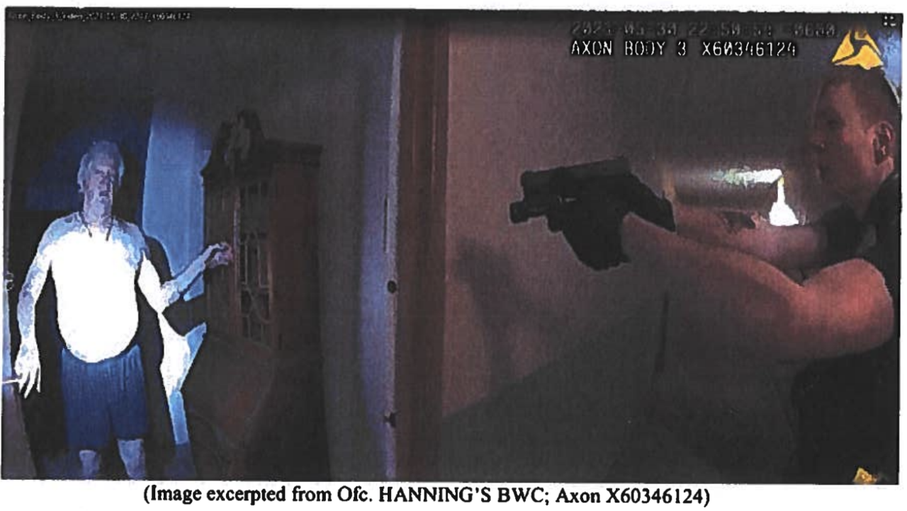 Nicholas Hanning assault charge_body camera_gun pointed at Clark