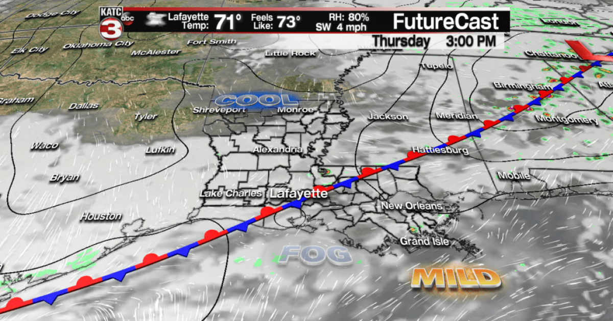 Clouds/showers stay in forecast into the weekend…then Mardi Cold!
