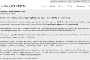 Mesa Arts Center COVID-19 update