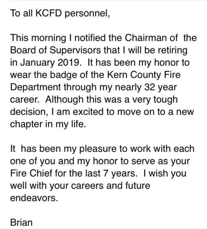 KCFD Chief Retirement Email