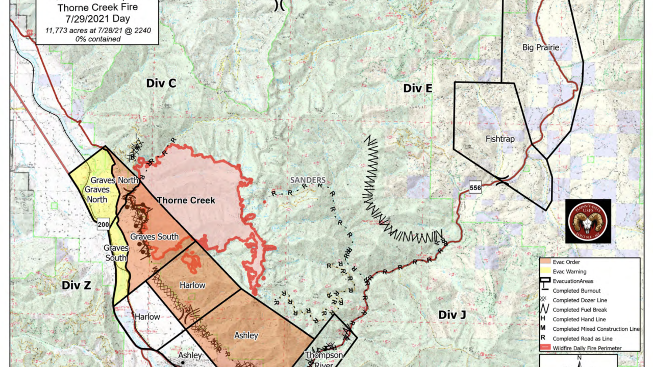 Thorne Creek Fire Map 729