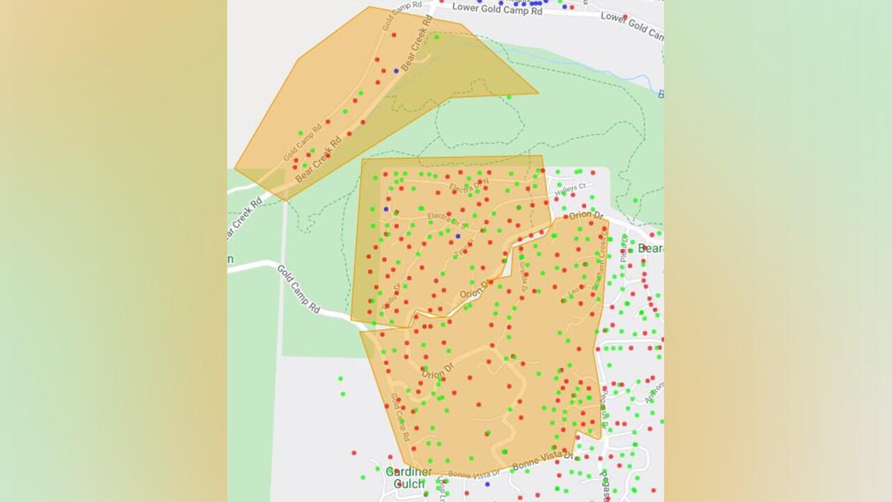 Bear Creek Fire Evacuation Map