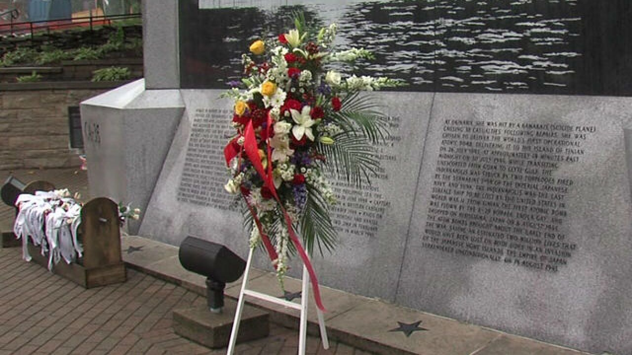USS Indy relative visits memorial on anniversary
