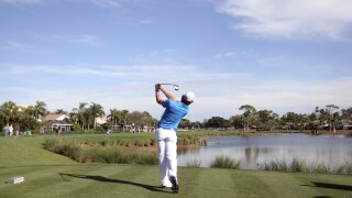 Rory McIlroy tees off on 13th hole during final round of 2012 Honda Classic