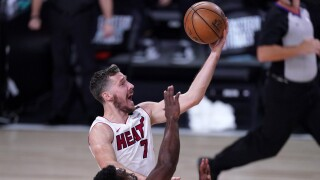 Goran Dragic goes for layup, Miami Heat vs Boston Celtics in Game 2 of NBA Eastern Conference Finals, Sept. 17, 2020