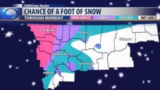 Weekend storm brings snow by the foot
