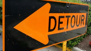 Detour sign stock