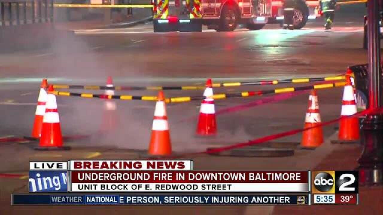 Underground electrical fire in Baltimore