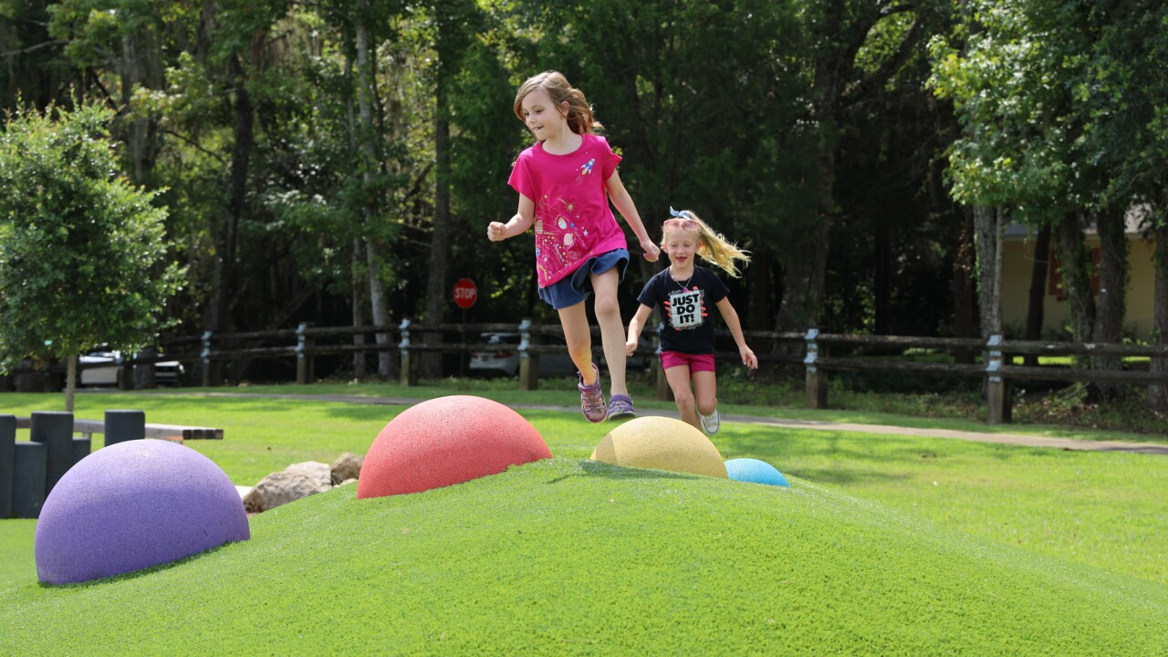 Children enjoy the new colorful and ADA-compliant playground located at 1294 Fuller Rd. PC: Leon County