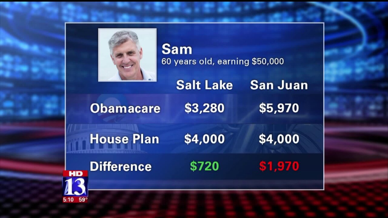 Comparing the cost of health care for Utahns under Obamacare vs the new GOPproposal