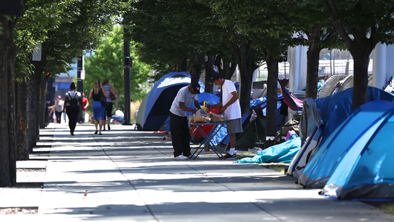 Downtown homeless stare down evac deadline