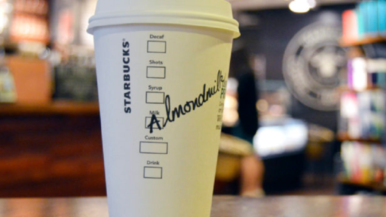 Starbucks to offer almond milk as non-dairy option