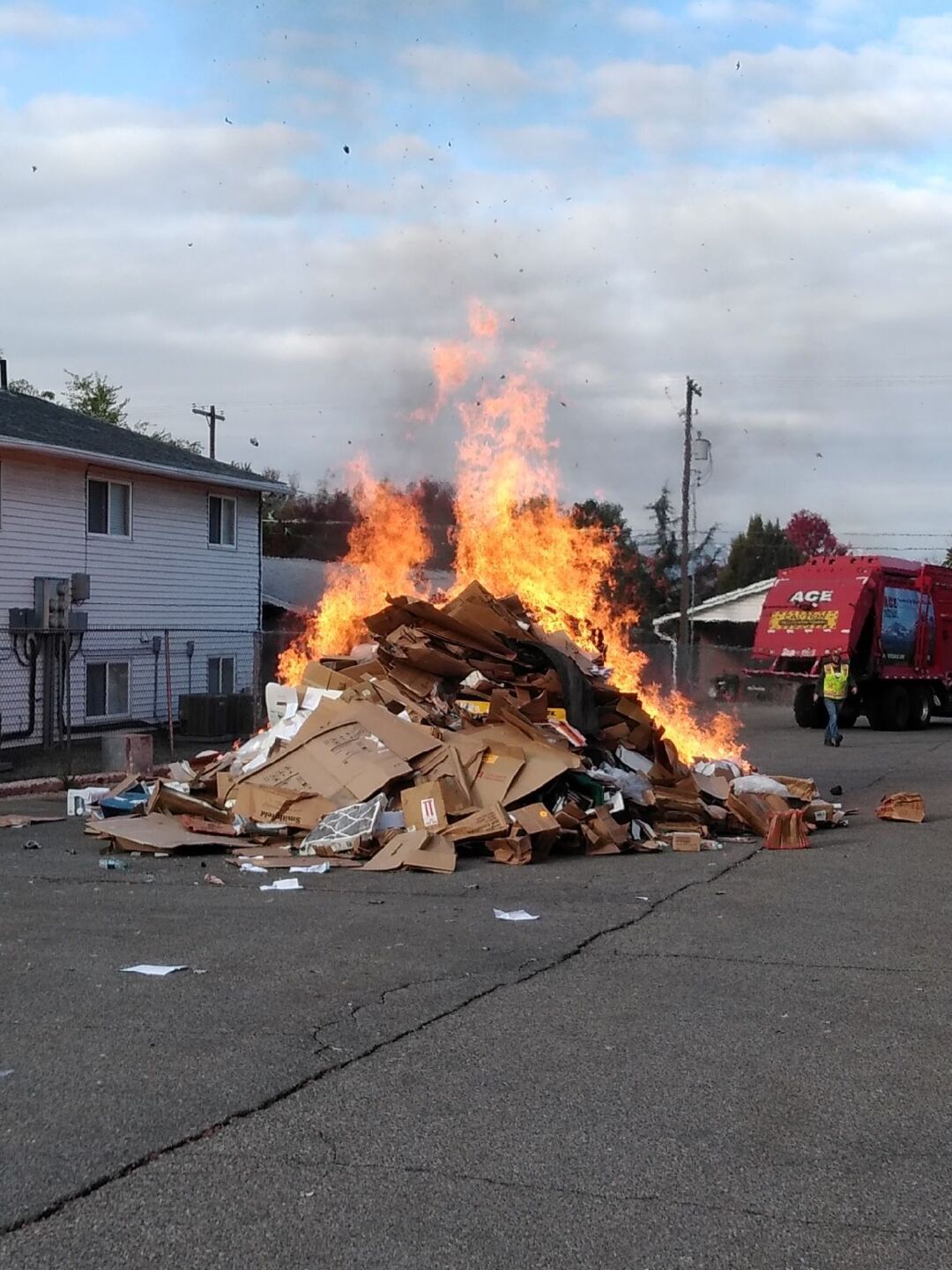 Photos: Literal garbage fire closes road in Salt Lake City