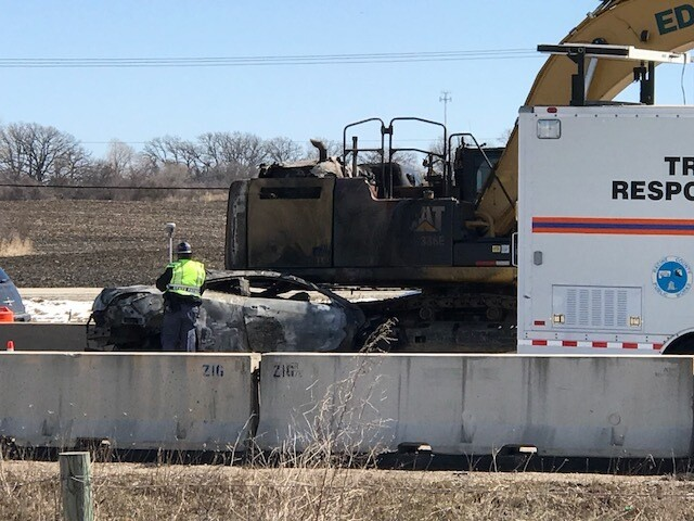 Car crash, fire closes I-94 South in Racine County