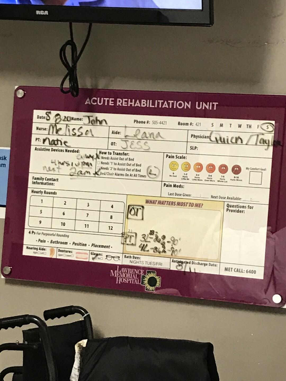 This board lists Rathbun's medical team.