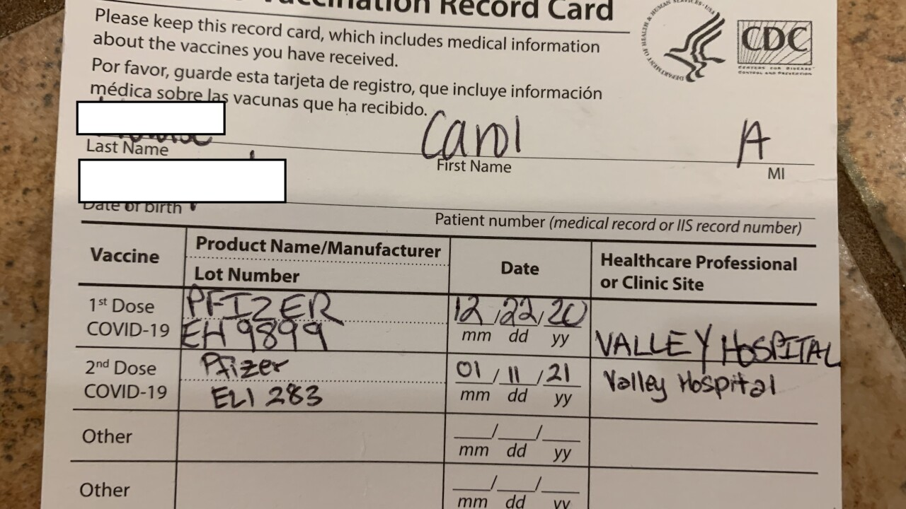 Carol H. provided this picture of her vaccination record, a popular photo which are popping up on social media regarding the COVID-19 vaccine effort.