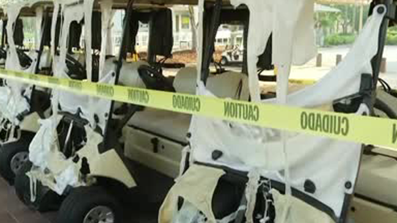 Golf carts destroyed at Melreese Country Club in Miami where David Beckham wants soccer stadium
