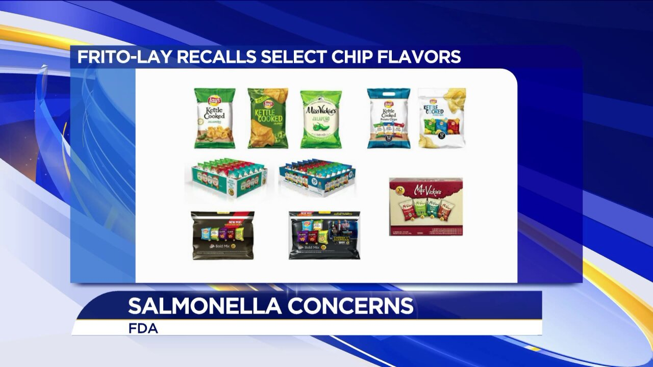 Frito-Lay recalls several potato chip products due to salmonella concerns