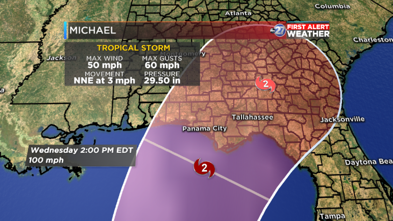 Tropical Storm Michael close up cone (10/07/18)
