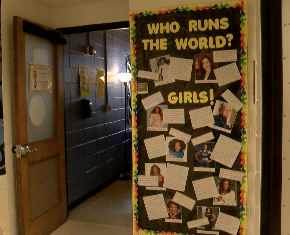 Door at Menomonee High decorated for Black History Month