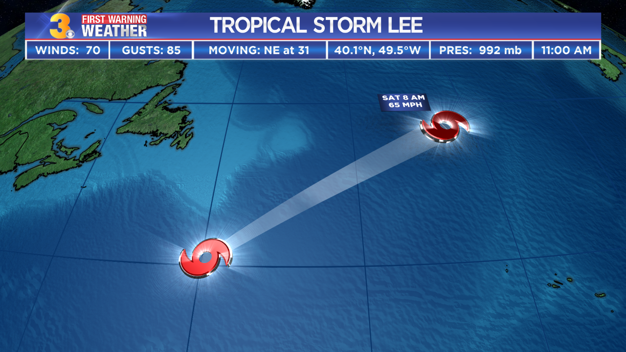 Lee weakens to a tropical storm