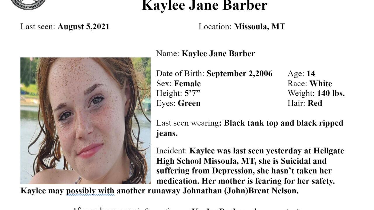 Missing-Endangered Person Advisory for 14-year old Kaylee Jane Barber