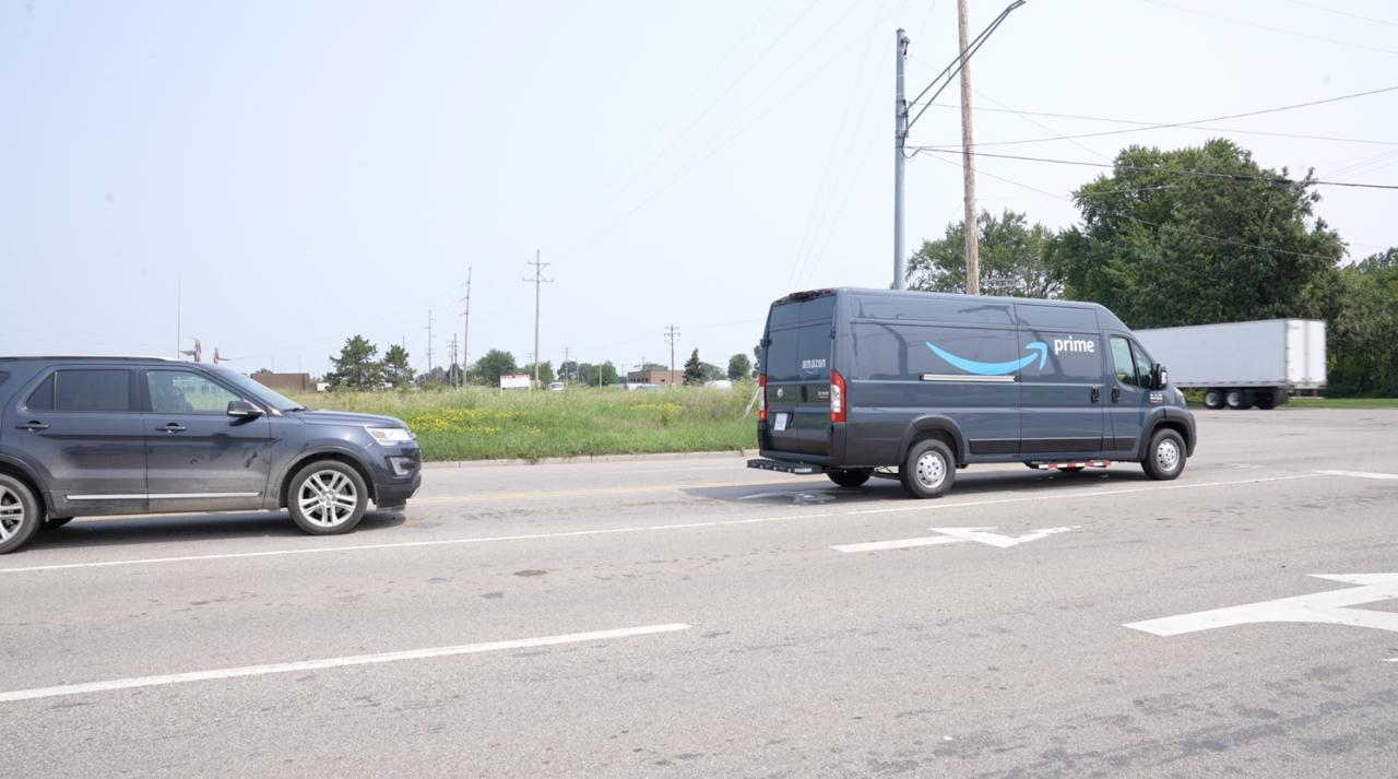 Amazon truck in Delta Twp.