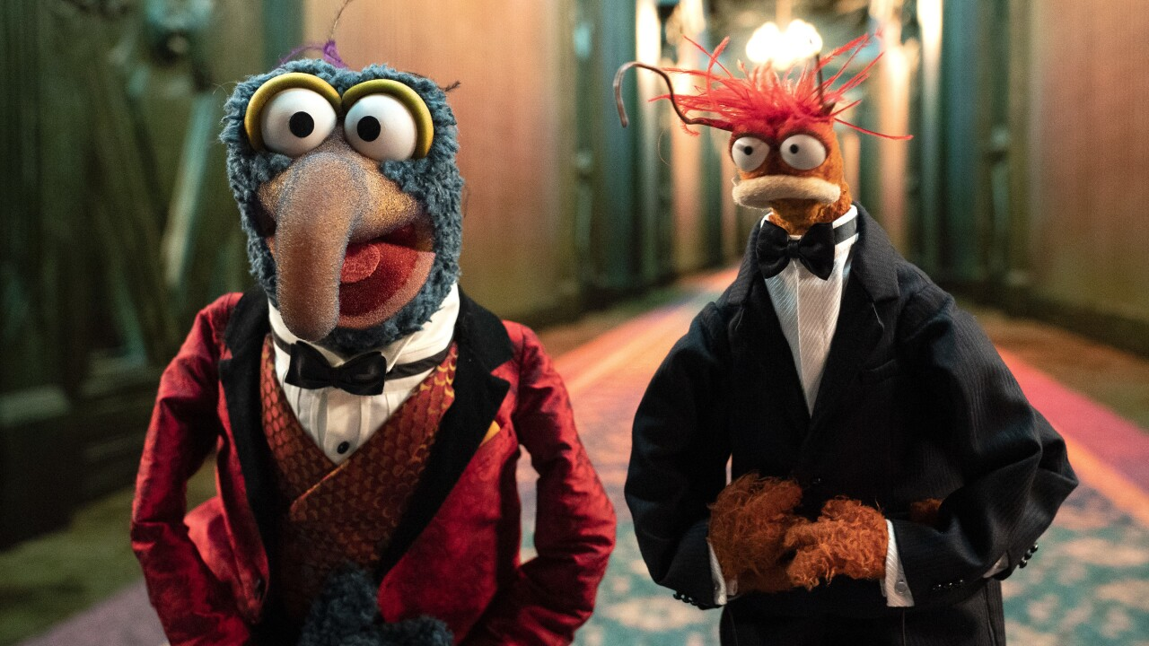 """Gonzo and Pepe the King Prawn in """"The Muppets Haunted Mansion."""" Photo courtesy Disney."""