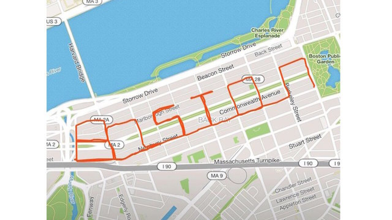 People run course that spells out 'Boston' on 5th anniversary of bombings