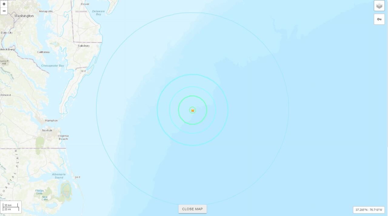 USGS Ocean City Earthquake Map     SOURCE: USGS