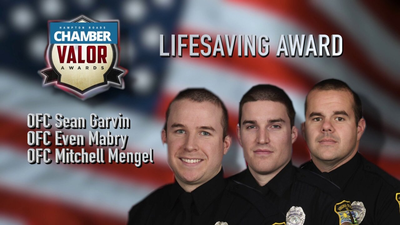 Virginia Beach officers recognized for saving woman'slife