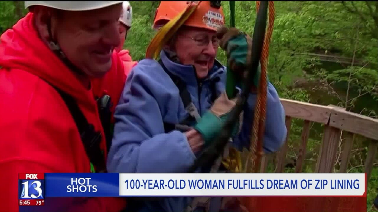 100-year-old woman proves it's 'never too late' by zip lining