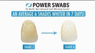 Make teeth 6 shades whiter in 1 week with PowerSwabs
