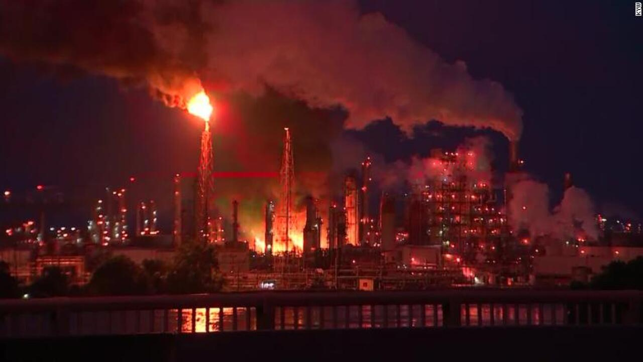 Large fire burning at Philadelphia refinery