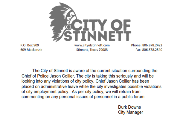 City of Stinnett statement on Jason Collier part 1