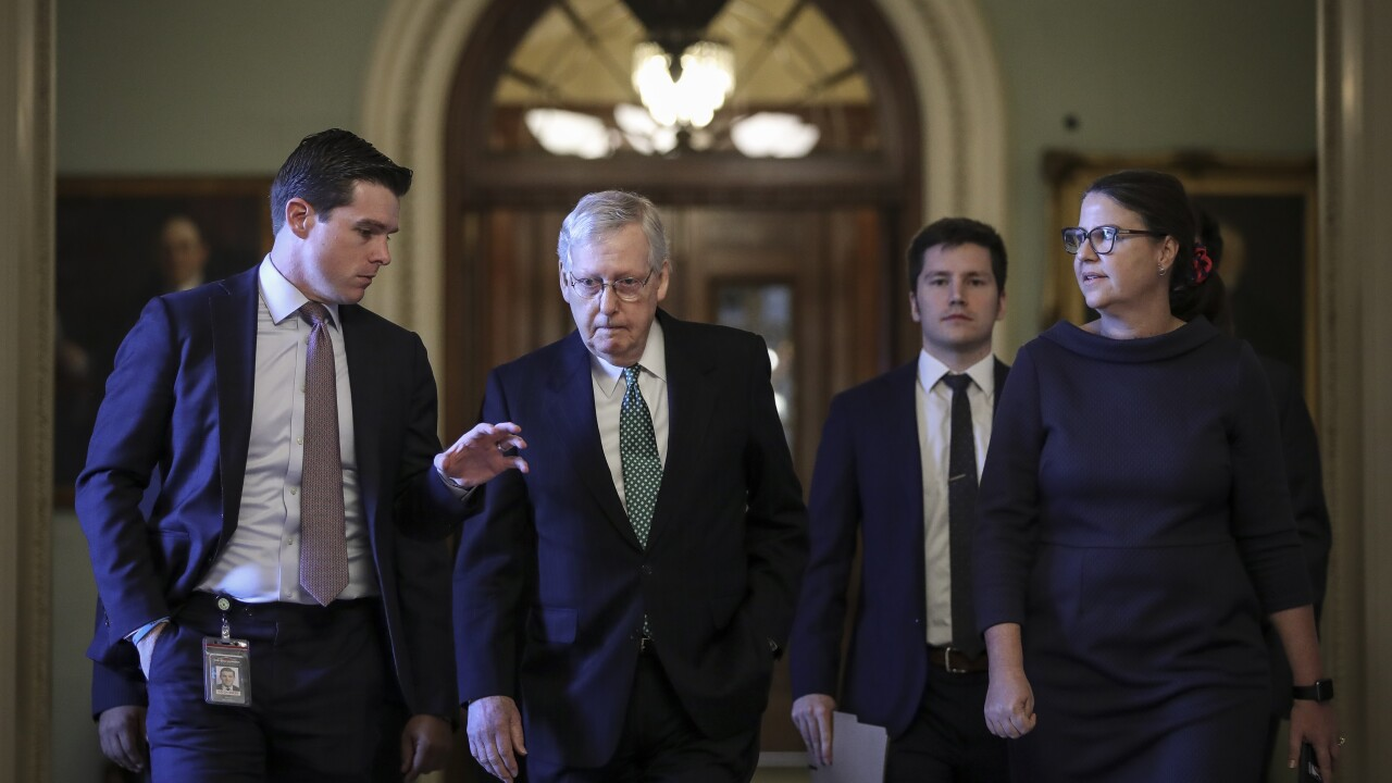 Senate Majority Leader Mitch McConnell (R-KY) Walks Through The Capitol After Discussing Impeachment Trial In Senate Chamber