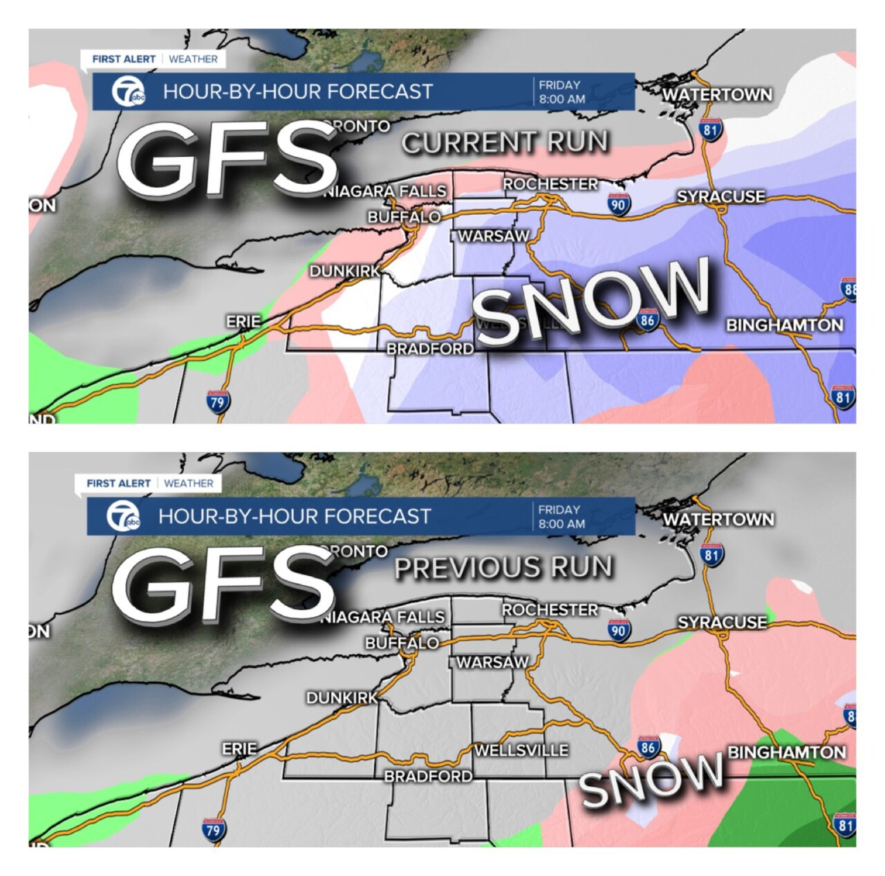 GFS snow placement, current and previous model runs