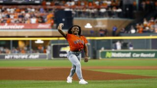 Simone Biles Did A Flip Before Throwing The First Pitch At The World Series